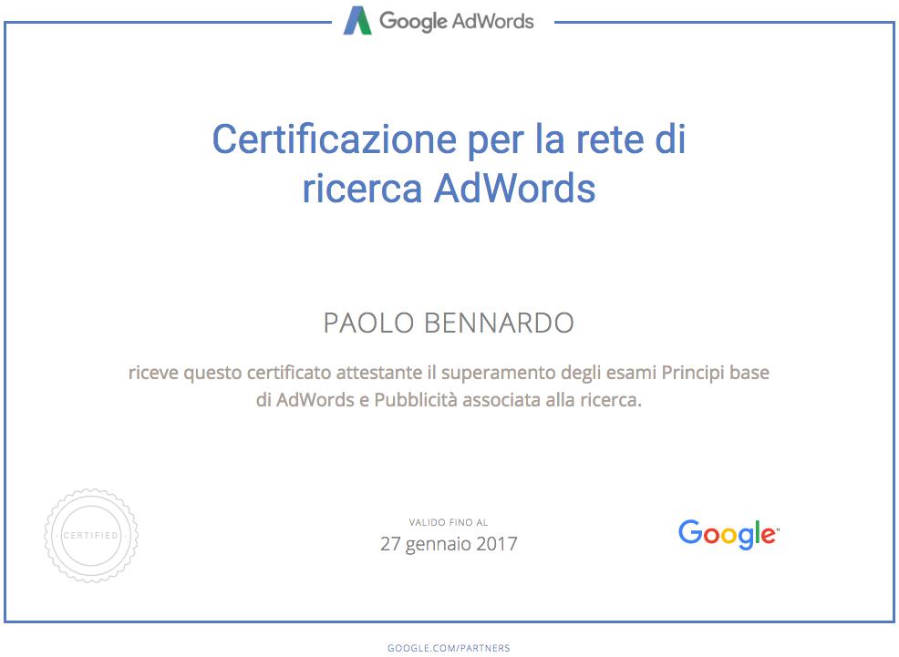 Certificazione AdWords Paolo Bennardo