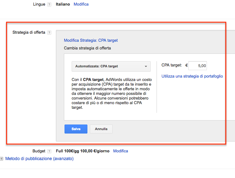 strategie di offerte adwords